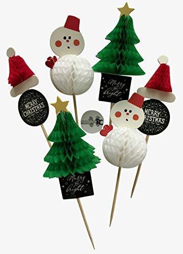 molinoRC 6X 3D Weihnachtszahnstocher Weihnachten Zahnstocher Party Cocktailfähnchen Sticker Picks Häppchen Party Fahne Cakepops Nikolaus Schneemann Weihnachtsbaum | | | | |
