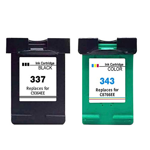 Ink_seller Remanufacturado HP 337 343 Cartucho de Tinta, 2 Paquetes( 1Negro+ 1Tricolor) Compatibles con HP 337 HP 343 per HP Deskjet D4160 5940 6980 Officejet 6300 6304 6305 Photosmart 2500 2570 2575
