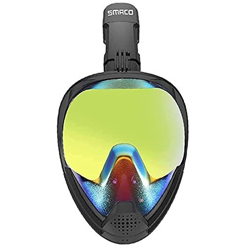 AWJ Máscara de Snorkel de Cara Completa, Sistema de respiración de Agua Anti-filtración con Parte Superior Seca, protección UV panorámica de 180 ° Máscara de Buceo de Seguridad Anti-empañam