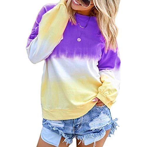 TEXXIS Women Autumn Winter New Pullover Rainbow Gradual Printed Long Sleeve Sweatshirt Knits & Tees