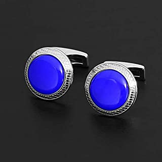 CUFFLINKS FOR MEN SILVER Royal BLUE- rounded