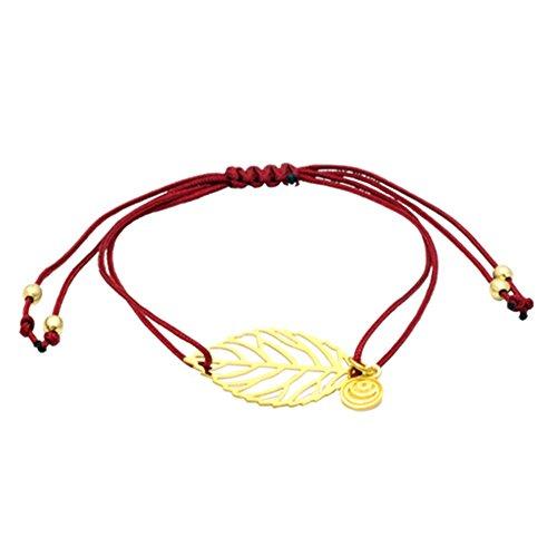 Excessories Glücksbändchen Rot mit Goldenem Blatt
