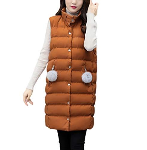 GL SUIT Dames Lange Gilet Stand Kraag Lichtgewicht Gewatteerde Vest Body Warmer Jacket Gewatteerde Taillejas Winter Mouwloze Jas voor Wandelen Reizen