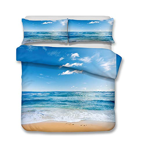 Bedding Set 3D Ocean Beach Blue Sky and White Clouds Romantic Scenery Design Pattern Double Size Duvet/Quilt Cover Multicolor Bedroom Decorative Bed Set Zipper Closure Easy Care