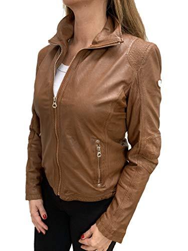 Gipsy Damen Lederjacke mit dekorativen Ziernähten im Biker Look (XL, Cognac)