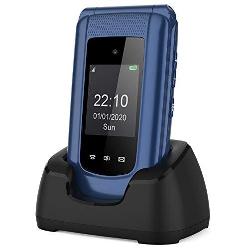 Simlockfreie Seniorenhandy Klapphandy ohne Vertrag,Großtasten Mobiltelefon SOS Notruffunktion,Aussendisplay,Taschenlampe,FM RadioDual-SIM 2.4 Zoll Display Einfach Handy für Senioren (Blau).