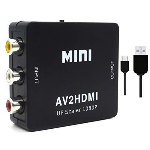 Convertidor de video RCA a HDMI, 1080P AV a HDMI, adaptador CVBS compuesto compatible con PAL/NTSC con cable USB para PC, portátil, Xbox, PS3, TV, STB, VHS VCR, cámara DVD