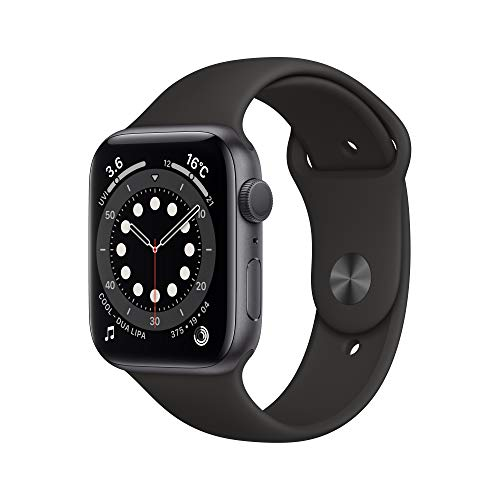 最新 AppleWatch Series 6(GPSモデル)- 44mmスペースグレイアルミニウムケースとブラックスポーツバンド