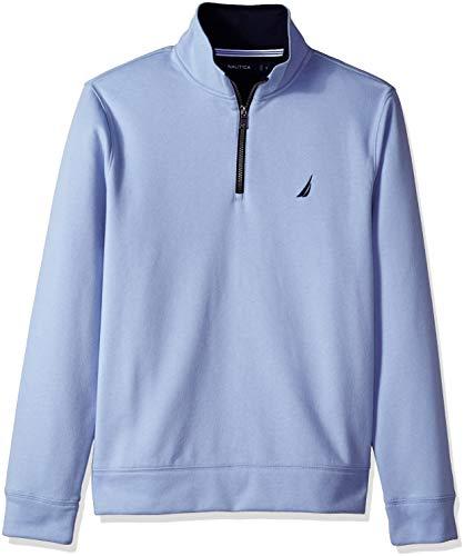 Nautica Men's Solid 1/4 Zip Fleece Sweatshirt, Linen Blue, Large