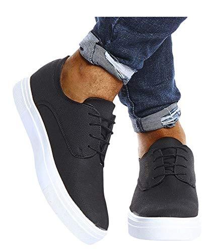 Leif Nelson Herren Schuhe für Freizeit Sport Freizeitschuhe Männer weiße Sneaker Sommer Coole Elegante Sommerschuhe Sportschuhe Weiße Schuhe für Jungen Winterschuhe Halbschuhe LN207 43 Schwarz
