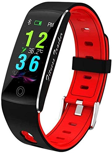 Gymqian Moda Deportes Cuerpo Temperatura Pulsera Inteligente All-Tiempo Multi-Deportes Pulsera Impermeable Tarifa Sangre Oxygen Smart Monitoring Watch-Black Exclusivo/Rojo