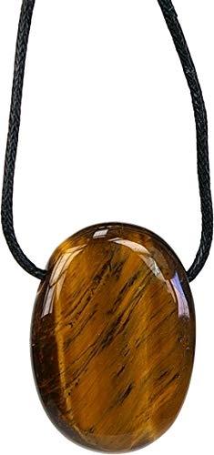 Collier oeil de tigre pierre ovale percee cordon noir