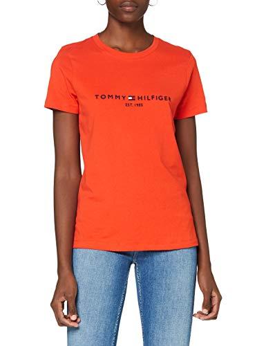 Tommy Hilfiger Damen Th ESS Hilfiger C-nk Reg Tee Ss Hemd, Oxidized Orange, M