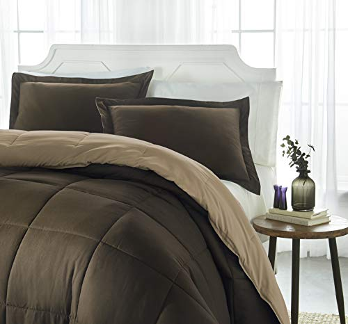iEnjoy Home Collection Down Alternative Reversible Comforter Set -King -Taupe/Chocolate