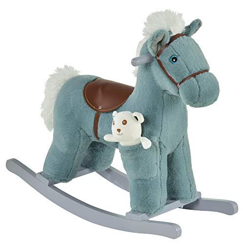 homcom Cavallo a Dondolo in Peluche e Legno con Suoni e Orsetto Incluso, per Bimbi da 18-36 Mesi, 65x26x55cm, Blu