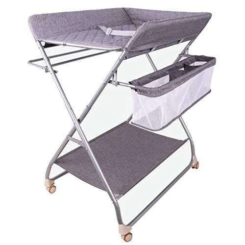 JALAL Table à Langer bébé Chambre à Langer Pliante pour Petits espaces, Commode de Station de Massage pour bébé Portable avec Roues, Gris, 0-3 Ans