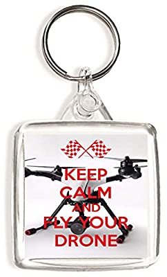 Keep Calm and Fly Your Drone - Square Keyring