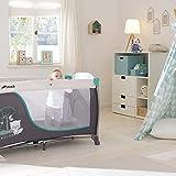 Hauck Sleep N Play Center 3, Reisebett 7-teilig ab Geburt bis 15 kg, faltbar und kippsicher, Neugeborenen Einhang, Wickelauflage, seitlicher Ausstieg, Netztasche, Räder, Transporttasche, türkis - 19