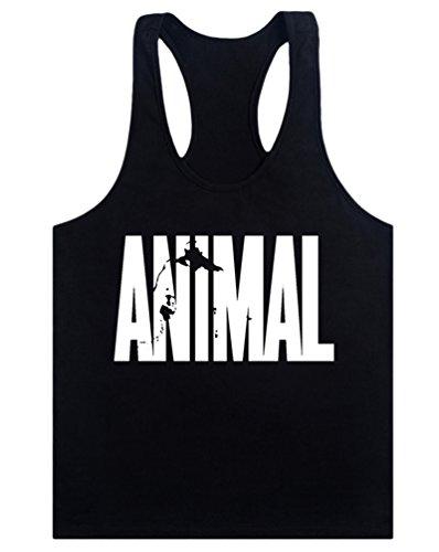 MITIAO Men's Animal Stringer Bodybuilding Workout Tank Tops Y-Back Shirt Black M