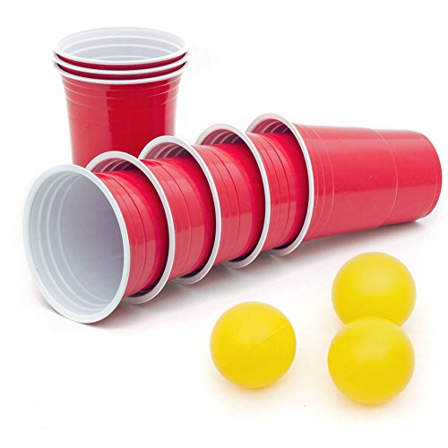 50 Stück Rote Partybecher Red Cups Trinkbecher 16 oz Kunststoff Party Becher Plastikbecher - Set inkl. 3 Tischtennis-Bälle und offizieller Spiele anleitung