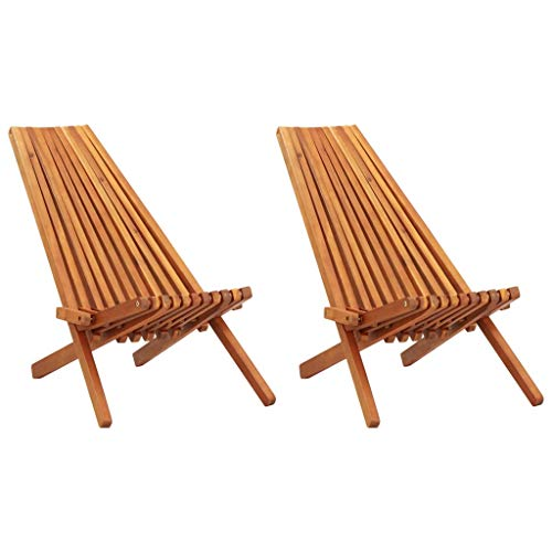 vidaXL Folding Wooden Outdoor Chair 2pcs - Foldable Low Profile Acacia Wood Lounge Chair for The Patio, Porch, Deck, Lawn, Garden or Home Furniture(Ergonomic seat)