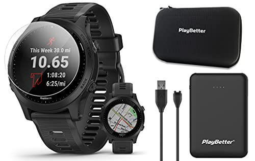 Garmin Forerunner 945 (Black) Power Bundle | With PlayBetter Portable Charger, HD Screen Protectors & Hard Case | Premium Running & Triathlon GPS Smartwatch | Heart Rate, Music, VO2 Max | 010-02063-00