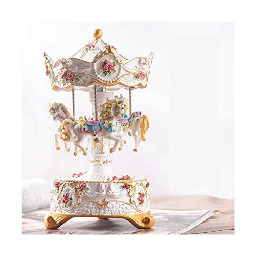 Spieluhren Karussell-Musik-Box mit bunten LED-Leuchten, Schloss im Himmel hören, 3-Pferd Karussell-Musik-Box, bestes Geburtstagsgeschenk, Romantische