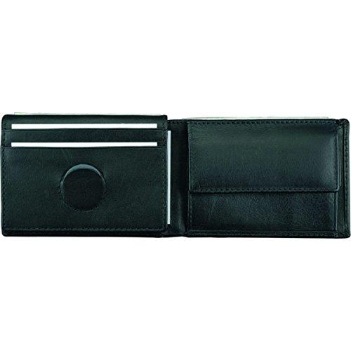 Alassio Mini Geldbörse aus feinstem Nappaleder, ca. 7 x 10 x 2 cm Münzbörse, 10 cm, Schwarz