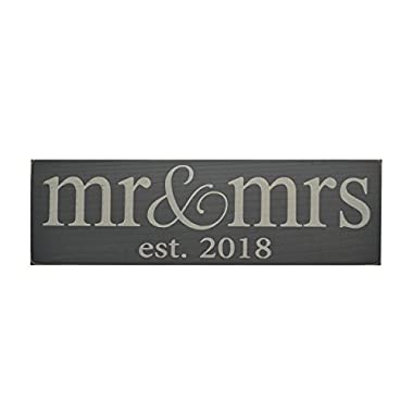 Mr. & Mrs. est 2018 Wood Sign - Perfect Wedding Gift for the Bride and Groom! (Gray)