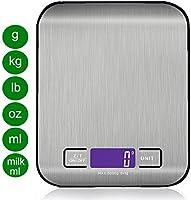 Conzy Báscula de cocina digital multifunción alimentos escala, 11 lb 5 kg, Plata, Acero inoxidable (pilas incluidas)