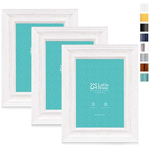 LaVie Home 5x7 Picture Frames (3 Pack, Distressed White Wood Grain) Rustic Photo Frame Set with High Definition Glass for Wall Mount & Table Top Display