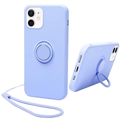 Funda de goma de silicona con soporte de anillo de 360 ° compatible con iPhone 12 y 12 Pro Full Body Protection Kickstand Case con correa de mano Soporte de coche (Lilac Purple)