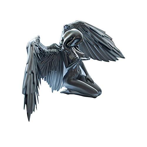 Duyifan Art Angel Mujer Mujer Wings Kneeling Cloak Hat, Redemption Angel Escultura Creativa, Art Angel Female Wings, 3D Angel Art Estatua Decoración (Plata)