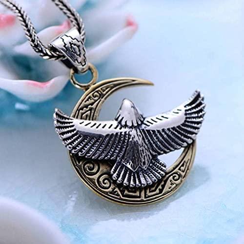 WOZUIMEI Colgante de Estilo Chino 925 Joyas de Plata Esterlina Águila Voladora Patrón de Media Luna Personalidad Creativa Colgante de Águilacolgante sin cadena