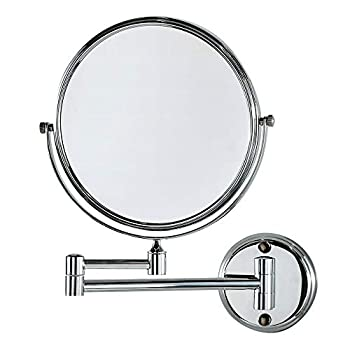 CRW 10x Magnifying Makeup Mirrors Wall Mount Two Sided Bathroom Magnification Vanity Mirror Flexible 360 Degree Swivel 8 Inch Chrome