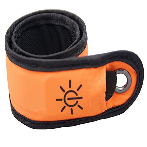grau.zone Leuchtendes LED Armband Orange, Sicherheitsbeleuchtung für Jogger Freizeit Party Schule
