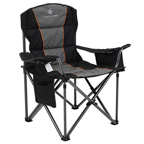 ALPHA CAMP Oversized Heavy Duty Padded Outdoor Folding Camping Chair with Cup Holder Storage and Cooler Bag, 450 LBS Weight Capacity, Thicken 600D Oxford