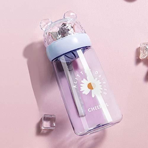 Botella portátil de plástico Botella de agua pequeña Taza de agua fría Taza para beber con pajita Botella de agua para niños 450Ml