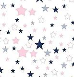 Pingianer - Tela de algodón para niños, 100 % algodón, por metros, artesanía, tela de costura, diseño de estrellas, algodón, Blanco, rosa, azul., 100x160cm (11,99€/m)