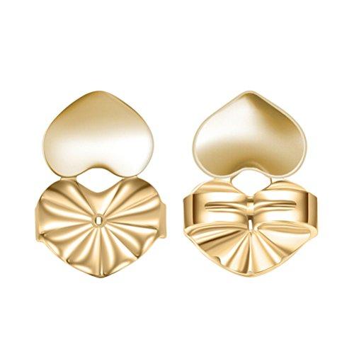 OULII Paar Mode-ein Herz-Steigung der Steigung Sitzerhöhung Rücken Ohrringe hypoallergen passt auf 18K Gold Silber Schmuck-Zubehör (Gold)
