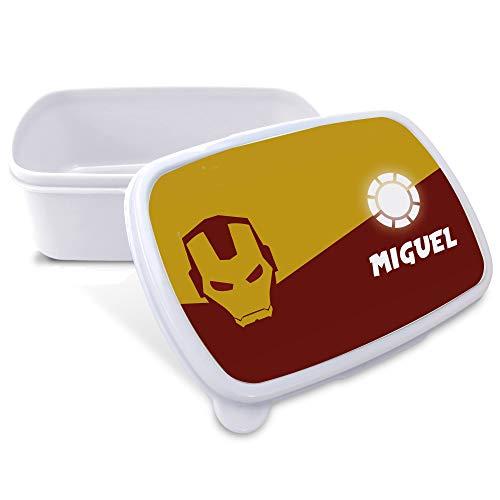 LolaPix Porta Alimentos Infantil. Regalos Personalizados. Caja merienda con Nombre. Apta para microondas y Libre de BPA, filatos y Metales Pesados. Varios diseños. Ironman