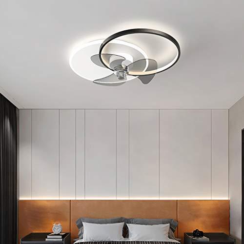 YIYUN Reversible Ventiladores De Techo con Luces LED Y El Tiempo, con Mando A Distancia 6 Velocidades Ajustable Silencioso Regulable Luz del Ventilador por Cuarto Sala Salón Comedor,Negro