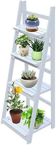 ALTERDJ Blumentreppe, 4-stufig, Blumenleiter Holz, klappbar, Leiterregal Pflanzen Blumenständer (Weiß)