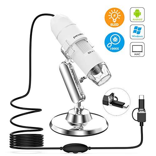 Pancellent Microscopio Digital, microscopía de Aumento USB 1080P 50X a 1000X con 8 LED, colección de Diapositivas de 12 Paquetes (Nivel de Inicio, NO iPhone/iPad, Blanco)