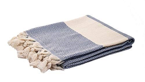 Toalla Playa Toalla de baño Turco XL Algodón orgánico - Pestemal Fouta Pareo -Toalla de Sauna Toalla de baño Toalla de Ducha Toalla Hammam Toalla Deportiva 100X180 cm (Azul Oscuro)