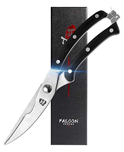 TUO Kitchen Shears - Heavy Duty Kitchen Scissors, Multi-functional Shears for Bone Poultry Meat Fish - German Steel & Pakkawood Handle with Safety Lock - Falcon Series with Gift Box