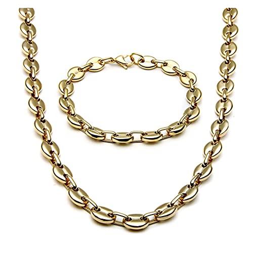 JIAH Collar y pulseras de acero inoxidable para hombre con forma de grano de café, collares y collares de joyería Hiphop (color metal: oro amarillo claro)