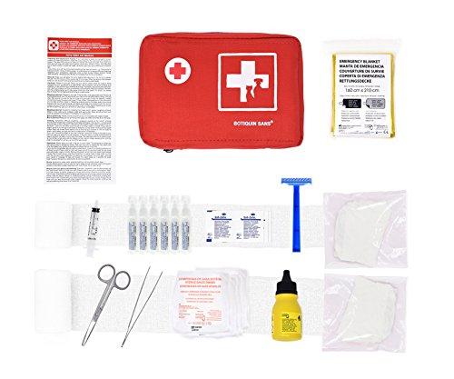 Erste-Hilfe-Kit für Haustiere (enthält ANTISEPTISCHE LÖSUNG, PHYSIOLOGISCHEN SERUM, RETTUNGSDECKE, Shaver.) (Nylon)