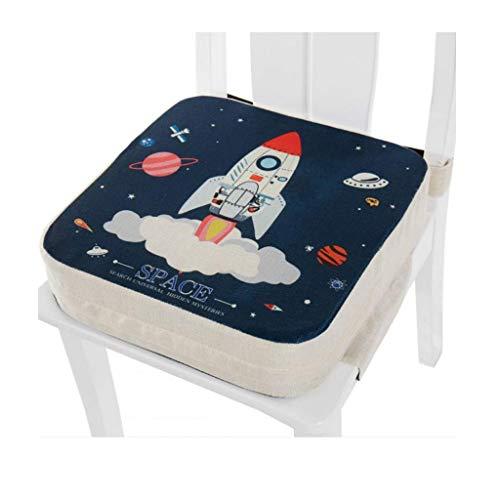 Manyao - Asiento elevador para silla infantil, cojín cuadrado para silla infantil ajustable y lavable con correas (espacio: 10 cm)