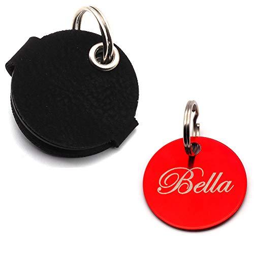 Hundemarkentasche mit Druckknopf Gravur | Blau, Schwarz, Rot, Gelb | gefertigt aus Kunstleder | mit beidseitig gravierter Hundemarke | Durchmesser ca. Ø30mm | Platz für Steuermarke (Rot)